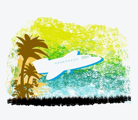 illustration of airplane with palm of tropics  Stock Vector - 17468140