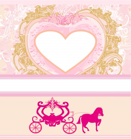 vintage floral carriage invitation  Vector