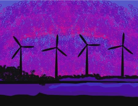 wind turbine sunset background ecosystem for design Stock Vector - 17468151