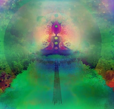 Yoga lotus pose. Padmasana with colored chakra points.  Stock Photo - 17530996