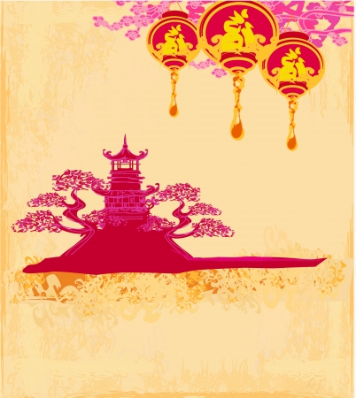 Decorative Chinese landscape card Stock Vector - 17530998