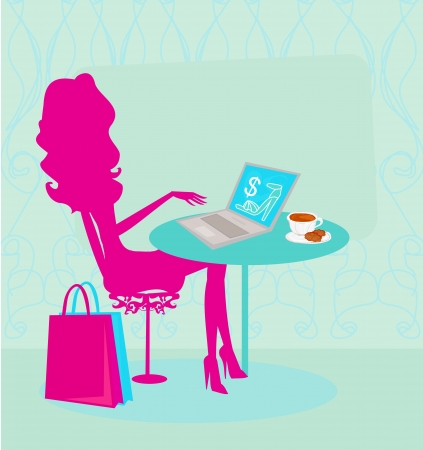 Online shopping - young smiling woman sitting with laptop comput  Vector