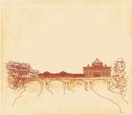 grunge background - hand draw Basilica di San Pietro, Vatican, Rome, Italy