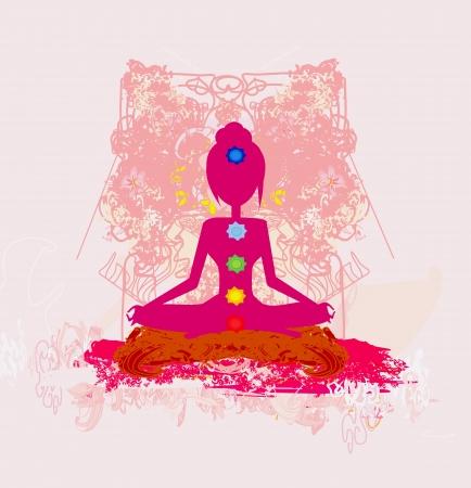 Yoga lotus pose. Padmasana with colored chakra points. Stock Vector - 17530999