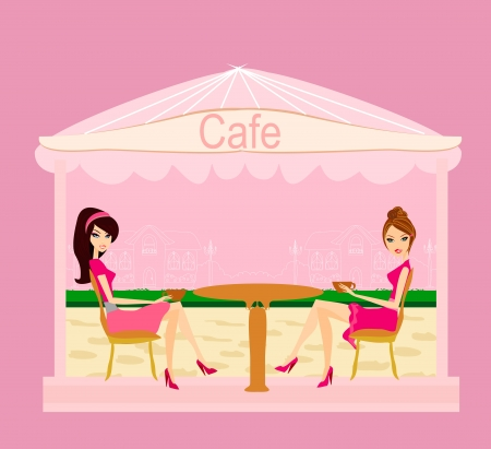 break in:  cute pretty girls in coffee break