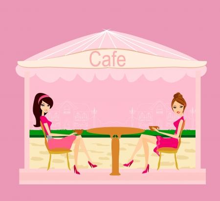 break in:  cute pretty girls in coffee break