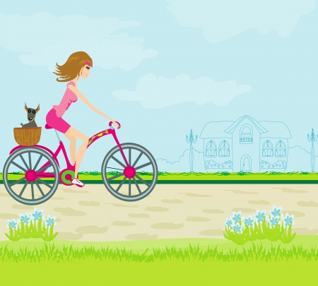 Happy Driving Bike with Cute Girl  Stock Vector - 17531004