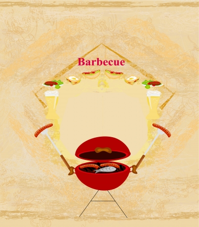 grilled salmon:  Vintage Barbecue Party Invitation  Illustration