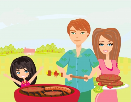 a family having a picnic in a park  Vector