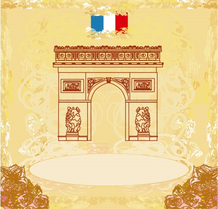 triumph:  Hand drawn illustration of Paris Triumph Arc - Grunge Background