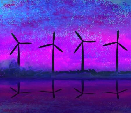 wind turbine sunset background
