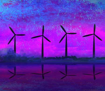 wind turbine sunset background Stock Photo - 17531099