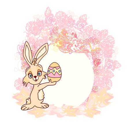 Illustration of happy Easter bunny carrying egg  Stock Vector - 17531094