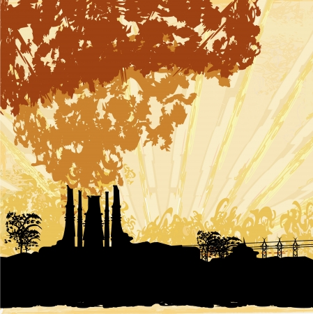 corporate waste:  Thick smoke coming out of factory chimney  Illustration