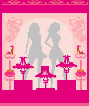 Fashion girls shopping in shoe shop Stock Vector - 17531077