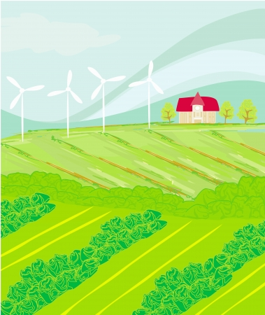 Eco farming - landscapes  Vector