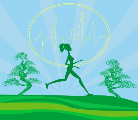 athlete cartoon: Jogging girl - card Illustration