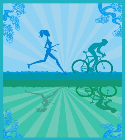 bicycler:  silhouette of marathon runner and cyclist race