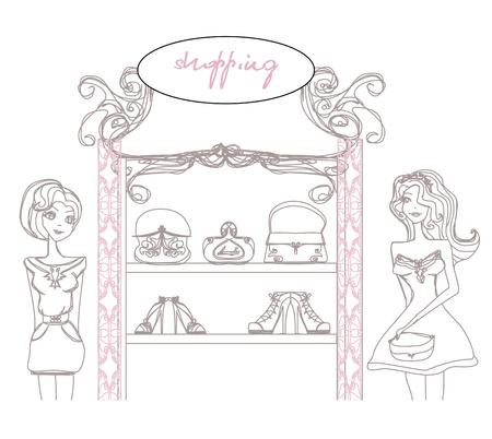 abstract fashion girls Shopping - illustration Stock Vector - 17666928