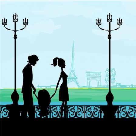 famille à Paris, avec la Tour Eiffel Vecteurs
