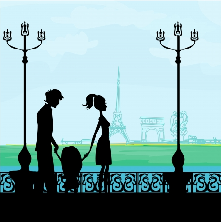 family in Paris, with the Eiffel Tower  Vector