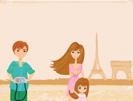 happy family in Paris Vector