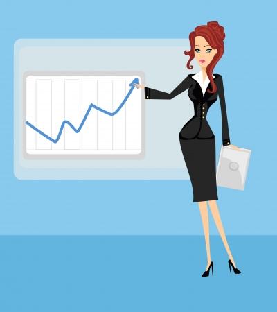 Caricature d'une femme d'affaires montrant les tendances commerciales hausse