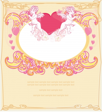 happy valentines day card with cupids Stock Vector - 17667314