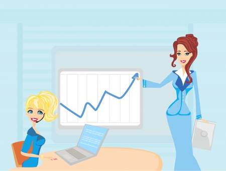 Three woman conducting a business meeting or presentation. Stock Vector - 17667302