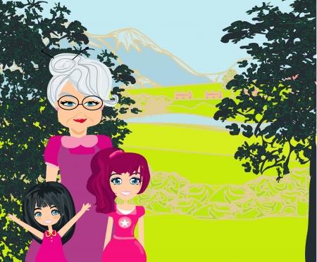 elder: grandmother with grandchildren on a walk in the park
