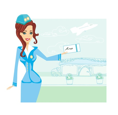 air hostess:  Beautiful stewardess with ticket  Illustration