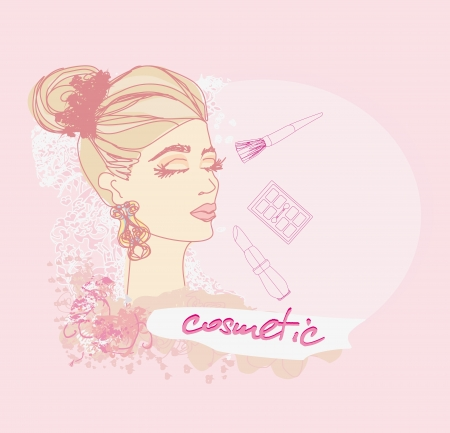 Make-up girl doodle illustration Stock Vector - 17667457