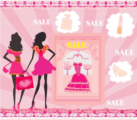 fashion silhouettes girls Shopping Stock Vector - 17667452