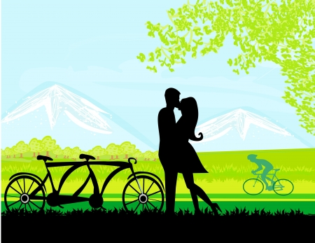 tandem:  sillhouette of sweet young couple in love standing in the park  Illustration
