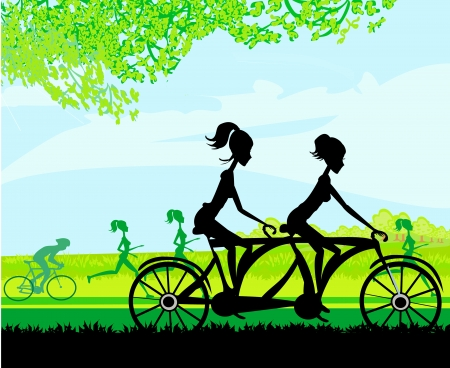 girls riding tandem bicycle Stock Vector - 17667905