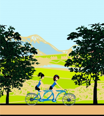 girls riding tandem bicycle Stock Vector - 17667916