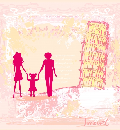 Italian Family Travel Background  Vector