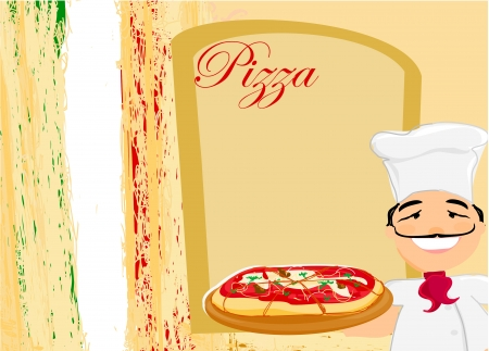 chef with pizza -  Menu Template Stock Vector - 17667914