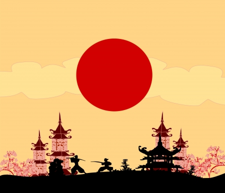summer in japan:  old paper with Samurai silhouette  Illustration