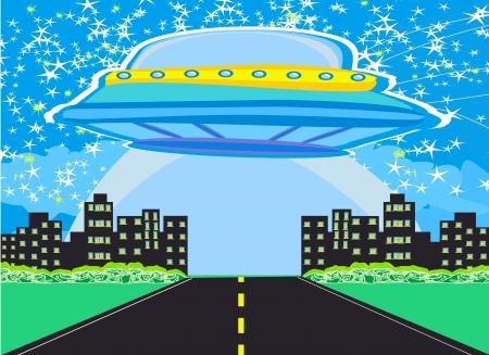 UFO spaceship and big night city Stock Vector - 17778934
