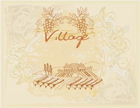 wine label - hand drawn vineyard  Stock Vector - 17778942