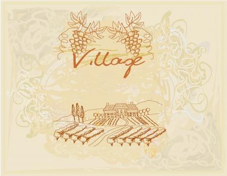 wine label - hand drawn vineyard