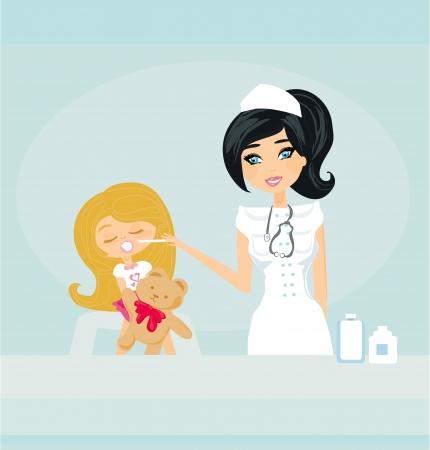 Doctor giving girl checkup Stock Vector - 17778958