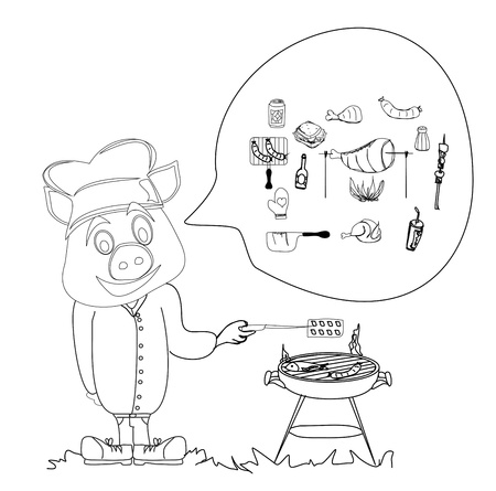 Cartoon pig having a BBQ. Vector