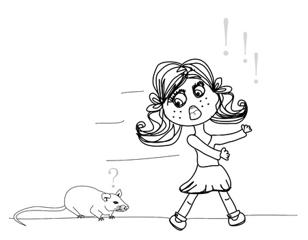 girl scared of a mouse Stock Vector - 17778945