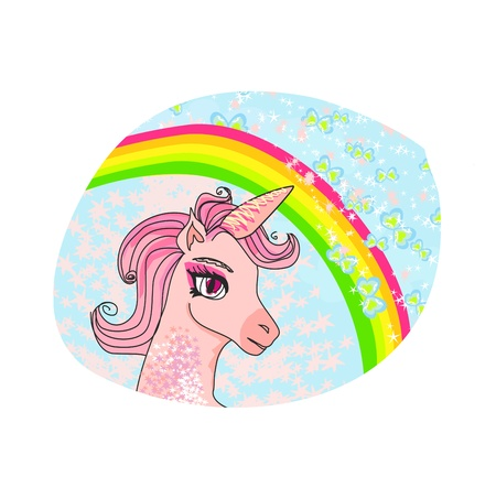 Unicorn with a rainbow vector Stock Vector - 17778963