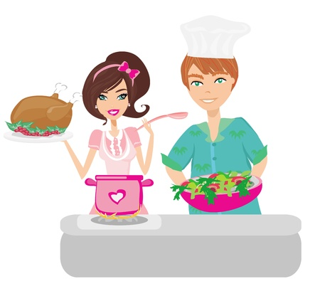 Pair of funny cooks on white  Vector