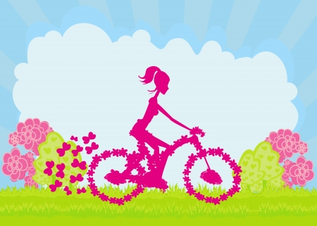 schooler:  Cycling Poster with silhouette Girl