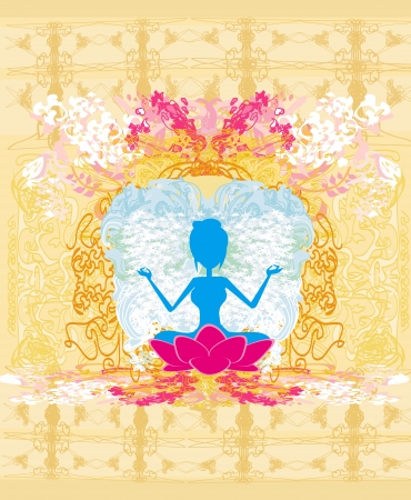 Yoga girl in lotus position  Stock Vector - 17778989