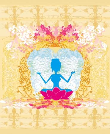 Yoga girl in lotus position Stock Vector - 17778989